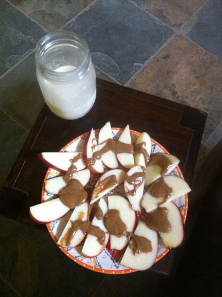 Speaking of nursing, I have found that I need to snack more now that I am breasfeeding.  My favorite snack is sliced apples with almond butter.