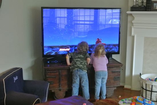 I think that perhaps our friends should buy a larger television.  I hate to see the children struggle to watch Simba and Nala.
