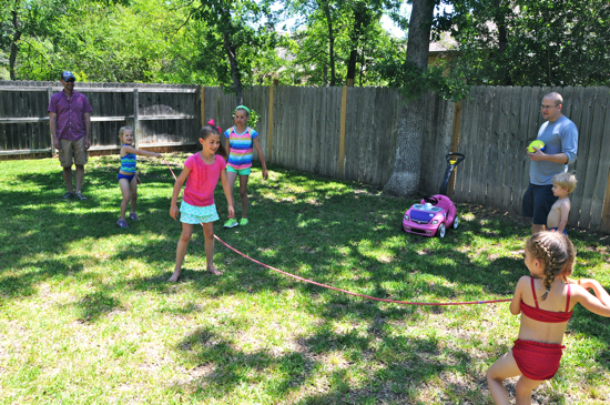 "Some of the ""big kids"" practiced their jump rope skills during the party."