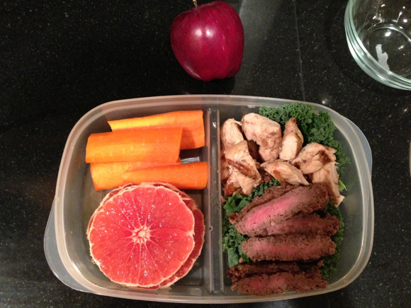 Day 5 Lunch: Chicken and beef strips, kale, carrots, grapefruit and an apple.
