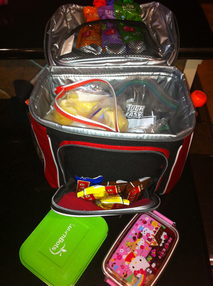 Our travel cooler is packed with frozen raw milk, frozen breast milk, nitrate free lunch meat, Larabars, baby food packets, and 2 containers with shredded chicken and grapes.