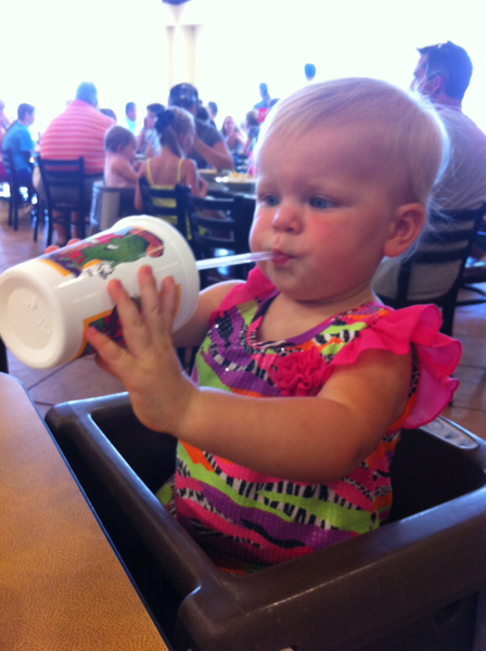 And drinking her water out of big kid cups after her cousins do that, too.