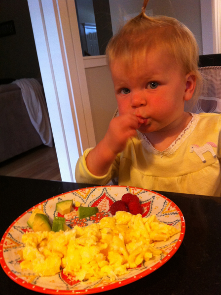 She eats eggs for breakfast 5 out of 7 days of the week on average.