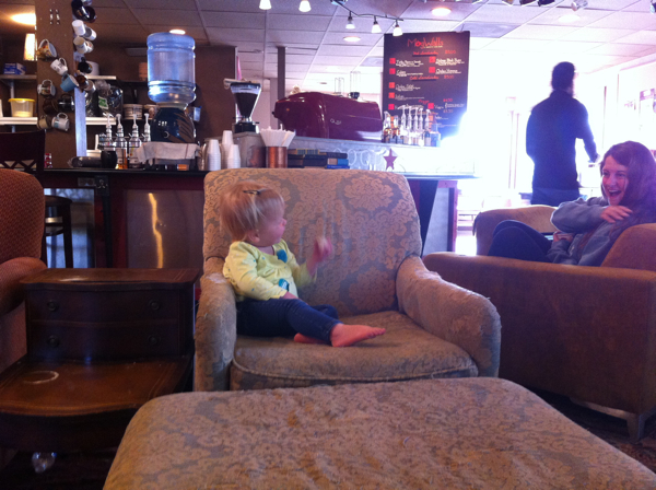 Casually waiting on Mom to drink her coffee and doing some people watching of her own.