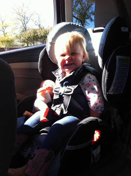 Riding with the windows down on a 40 degree day is fun when you're 18 months old!