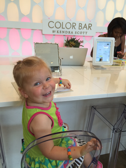 My family got me a Kendra Scott necklace for Mother's Day, and since it was also my birth month we went to redeem the 50% off one item offer at the Color Bar!  Poppyseed LOVED all of the jewelry...