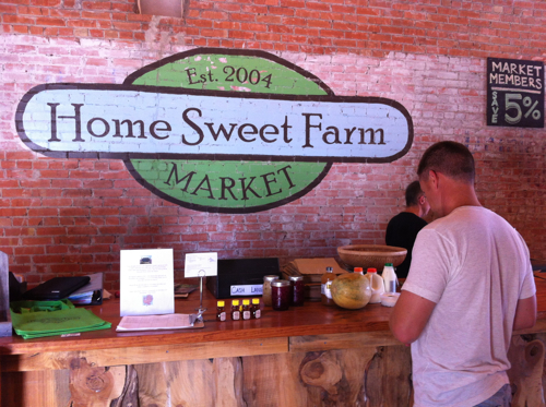 Stocking up on homemade, local sauerkraut at the Home Sweet Farmer's Market in Brenham, Texas last week.