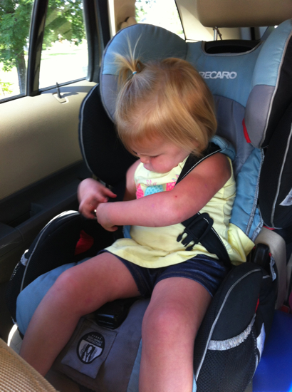 This big girl can now get in the car unassisted and buckle her own seat belt!