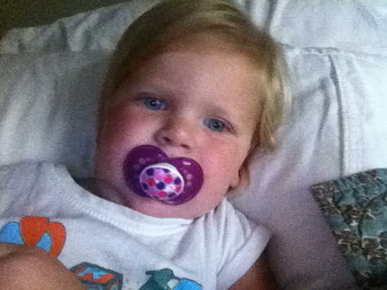 We weaned this little baby from her pacifier last week.  Wah!  It was harder for Lola than for Poppyseed.