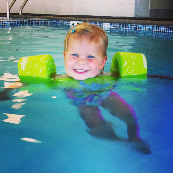 """I swim like dolphin, Mommy!"""