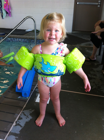 We finally caved and got her some pool floaties.  Annnd they are amazing.