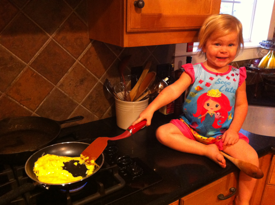 I figure at this rate, she will be scrambling eggs by herself at age 3.
