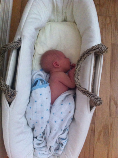 Middle's first nap in the moses basket.  Poppyseed practically lived in this thing until she was 6-7 months old.