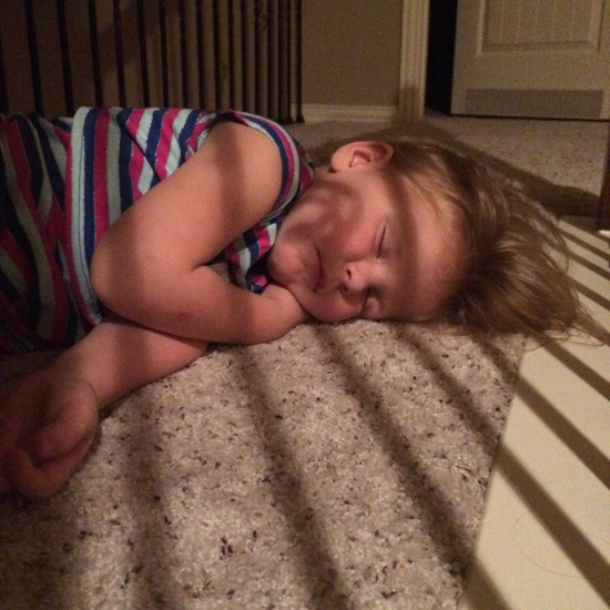 Someone keeps sneaking out of her room after bedtime and falling asleep on the landing. #adorable