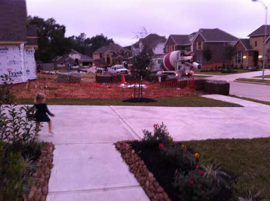 There are 10 homes on our street, but only 3 are occupied.  The other 7 are either empty or under construction.