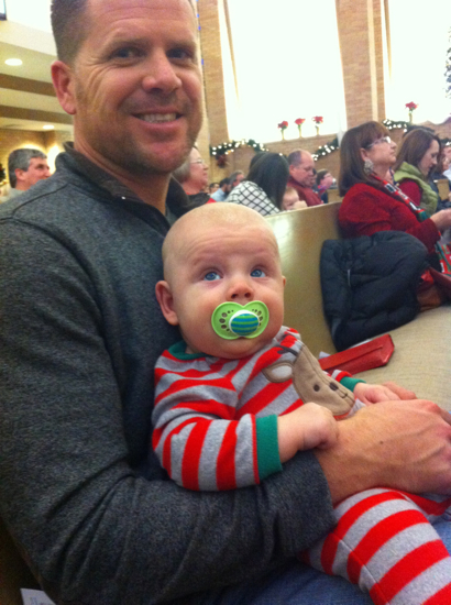 Two handsome guys at the Christmas Eve service.