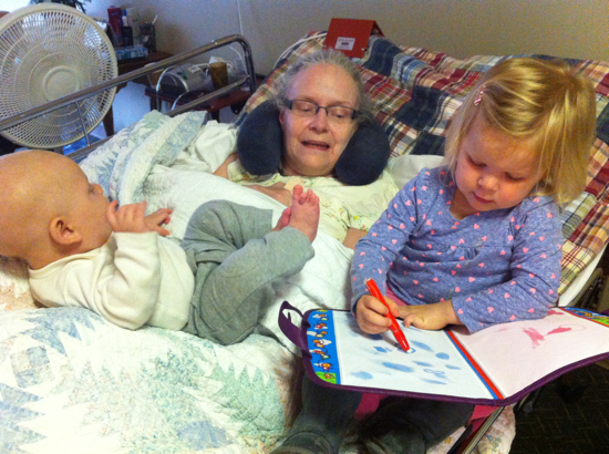 My mom loved having both of her grandkids in her lap at the same time.