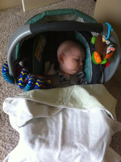 One perk is that he falls asleep in his carseat easily!