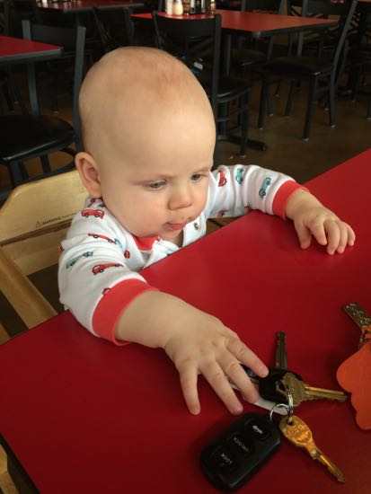 This kid loves car keys.  I'm always handing them over at the first sign of fussiness.