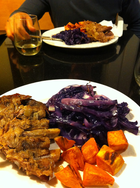Pork roast, sweet potato, and roasted red cabbage.