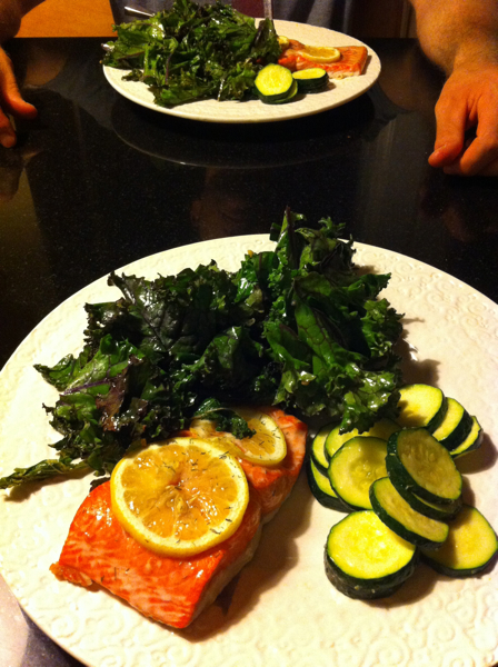 Fish.  Kale.  Zucchini.  Simple paleo meal.