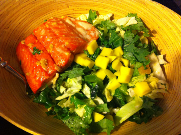 Day 3 Dinner: Baked salmon salad.