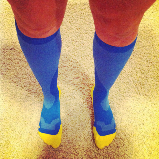 I finally caved and bought some compression socks.  Despite how silly they look, they actually do make my left leg feel about 60% better.  I didn't think that compressing my lower leg could possibly help my thigh and upper leg, but it certainly does help!