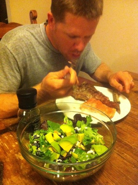"Paleo surf and turf - this is what we eat on a ""date night at home"" now that we are paleo.  Ribeye, salmon, and a big salad!  Imagine the cost of this meal in a restaurant!"