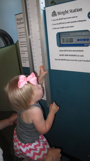 Thanks to the random scale at the museum, we got to see that she has not gained any weight since she was 18 months.