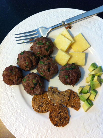 A pretty standard lunch around here... meatballs, kerrygold cheese, avocado, and gluten free crackers.  (The crackers are rarely eaten, and actually Poppyseed usually skips them.)