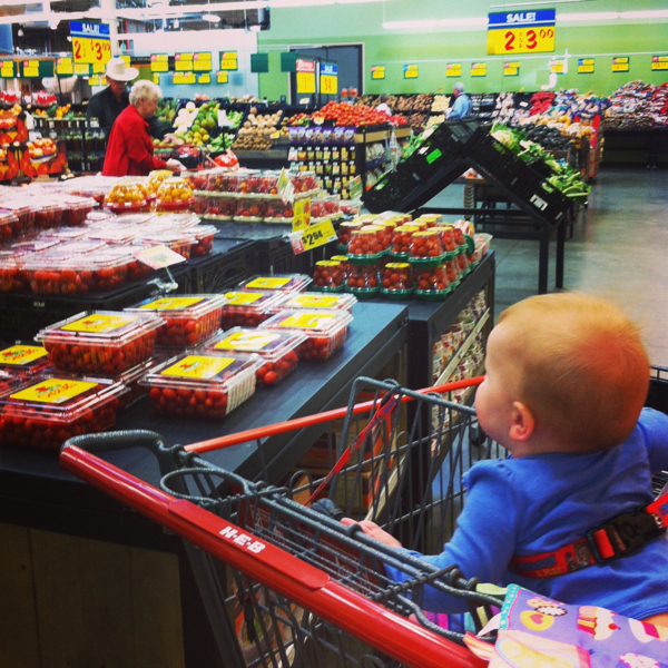 This baby is at the grocery store with me almost daily.  The cashiers know us by name.