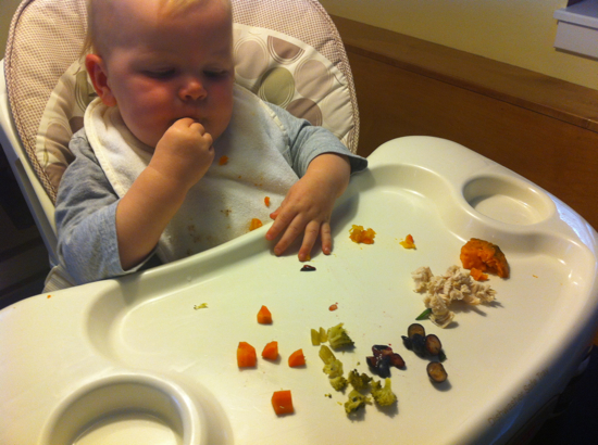 I love putting little piles of different foods on her tray and watching what she eats.  So far, blueberries are ALWAYS her first reach.