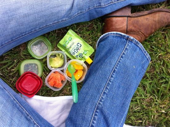 On Sunday we went to the ranch to ride horses with Daddy and took a picnic.  These itty bitty containers are great!  Salmon, squash and avocado with apple sauce.