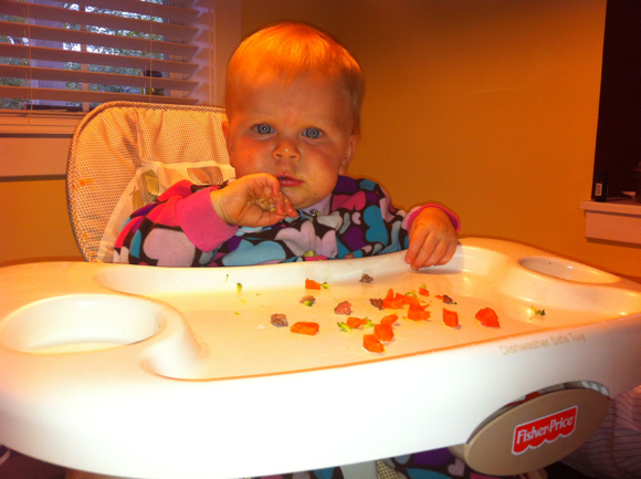 Baby Poppyseed enjoys all of the food that we do, just cut into smaller pieces.