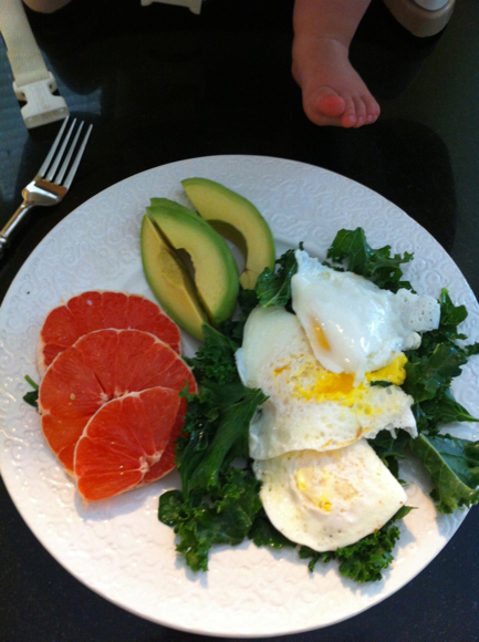 Day 3 Breakfast: Fried eggs, swiss chard, grapefruit and avocado.