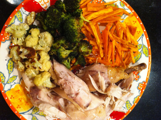 Crock pot organic chicken, roasted cauliflower and broccoli, and sweet potato fries.