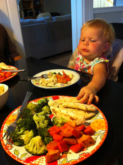 """Mommy, I'm not so sure about my tilapia, can I try yours?""  We don't have a lot of strict rules at the table, but one of them is that she is served EXACTLY what the adults are served!"