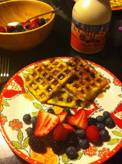 Breakfasts on the weekends are normally more fun - paleo waffles are a favorite!